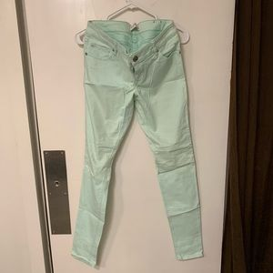Express mint green brushed twill jeggings